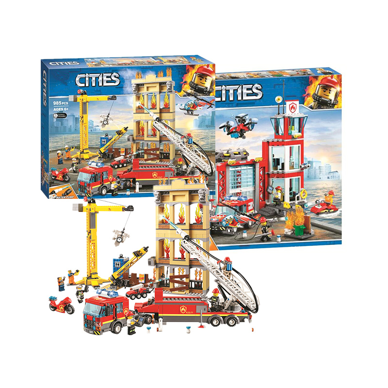 NEW 60216 60110 Compatible with legoinglys City Series The Fire Station Model Building Block Brick Toy For Children XMAS Gift image