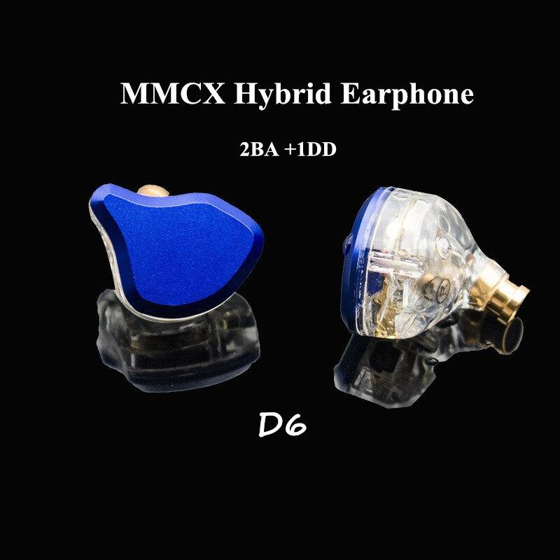 D6 2BA+1DD MMCX Hybrid Earphone Custom Made MMCX HI FI Earbuds Atp-x DJ Monitor Headphone 2 Balanced Armature 1 Dynamic