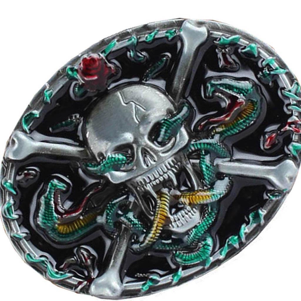 Skull Cowboy Gift Belt Buckle For Men Novelty Gothic Leather Belt Buckle Beauty Cool Rose Flower