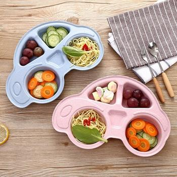 Baby Car Dishes Plate Lunch Box Tableware Suction Tray Non-slip Mini Mat Toddler Placemat Kids Portable Food Feeding Bowl Dishes image