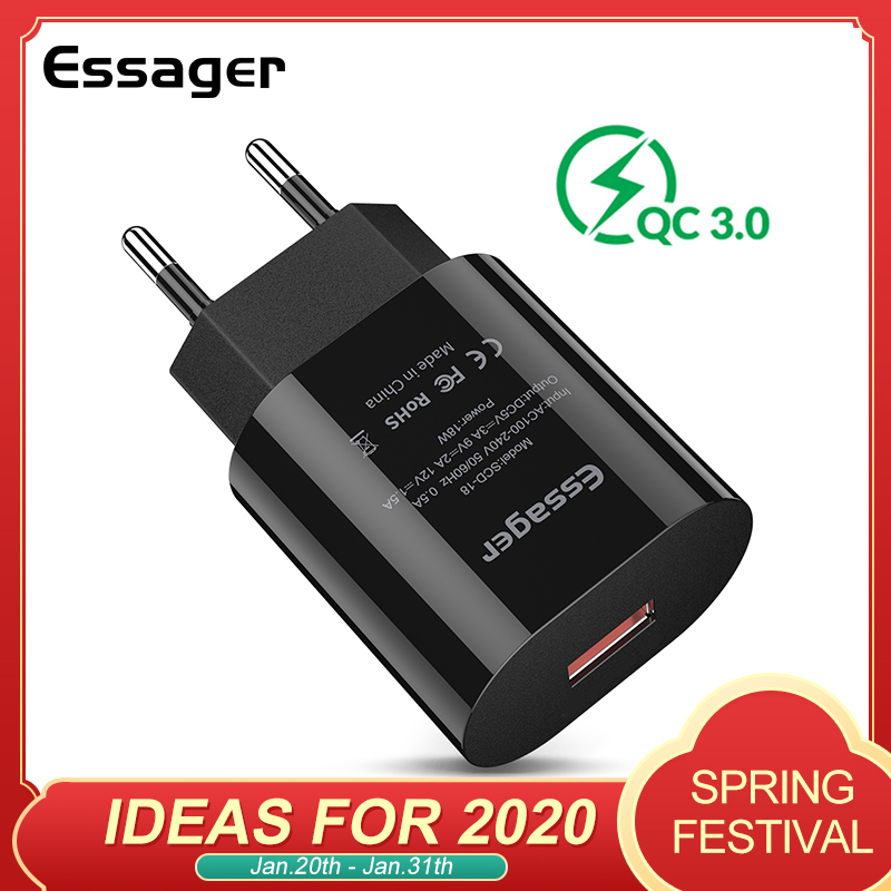 Essager Quick Charge 3.0 USB Charger QC3.0 QC Fast Charging EU <font><b>Plug</b></font> <font><b>Adapter</b></font> Wall Mobile Phone Charger For iPhone <font><b>Samsung</b></font> Xiaomi image