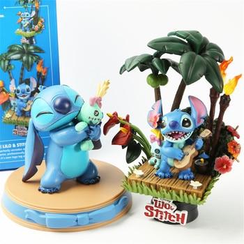 Disney Lilo Stitch Anime Figures PVC Cute Toys Kids Doll Model Ohana Action Figurine Guitar Stitch Model Collectible Decoration