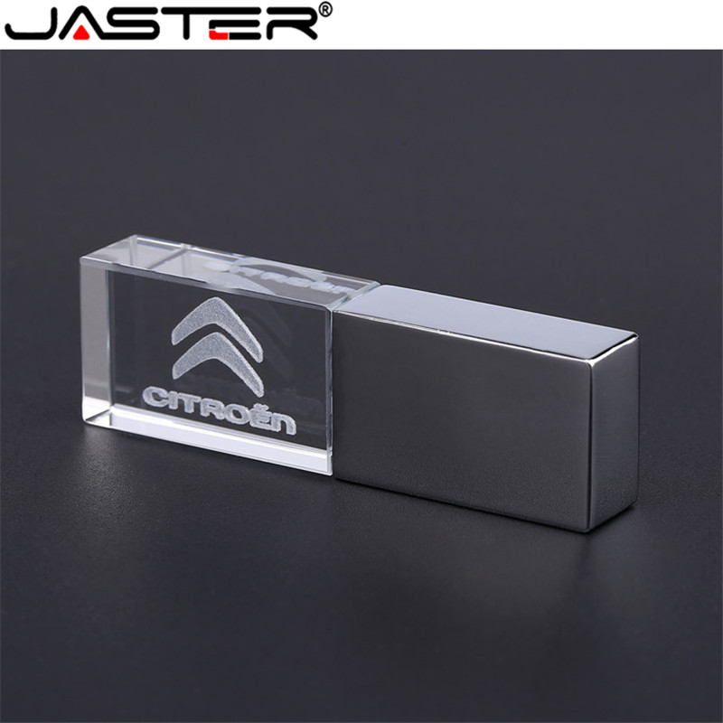 JASTER Citreon Crystal + Metal USB Flash Drive Pendrive 4GB 8GB 16GB 32GB 64GB 128GB External Storage Memory Stick U Disk