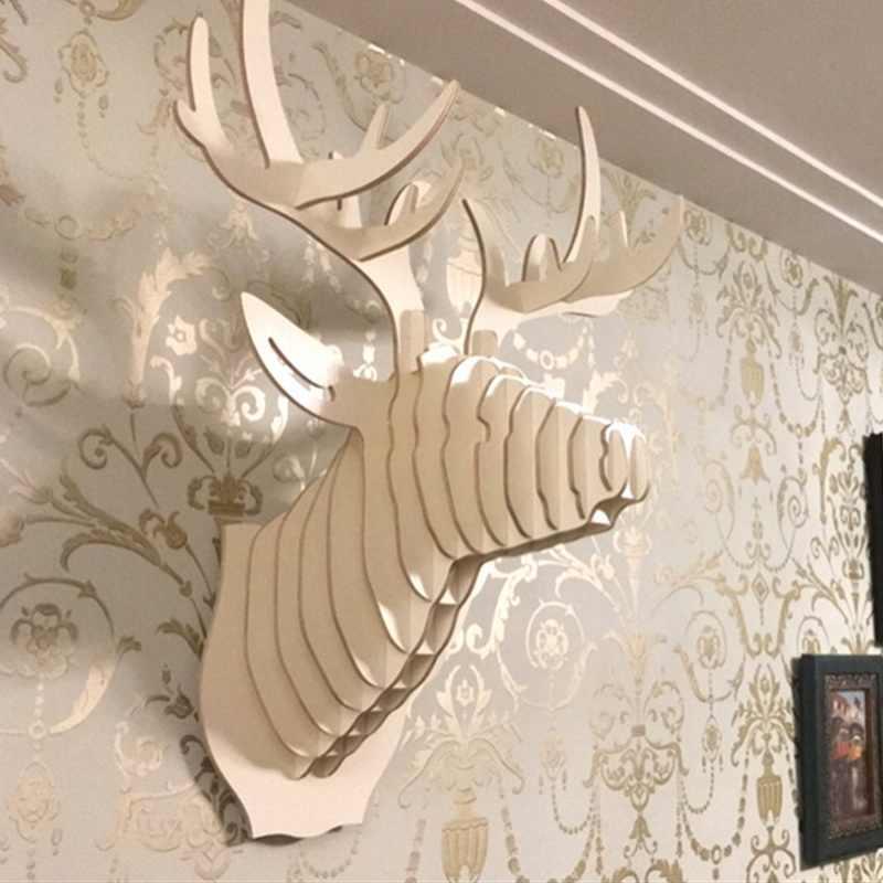 Dozzlor 3D ahşap hayvan geyik kafa sanat modeli ev ofis duvar asılı dekorasyon depolama tutucular rafları hediye zanaat ev dekor