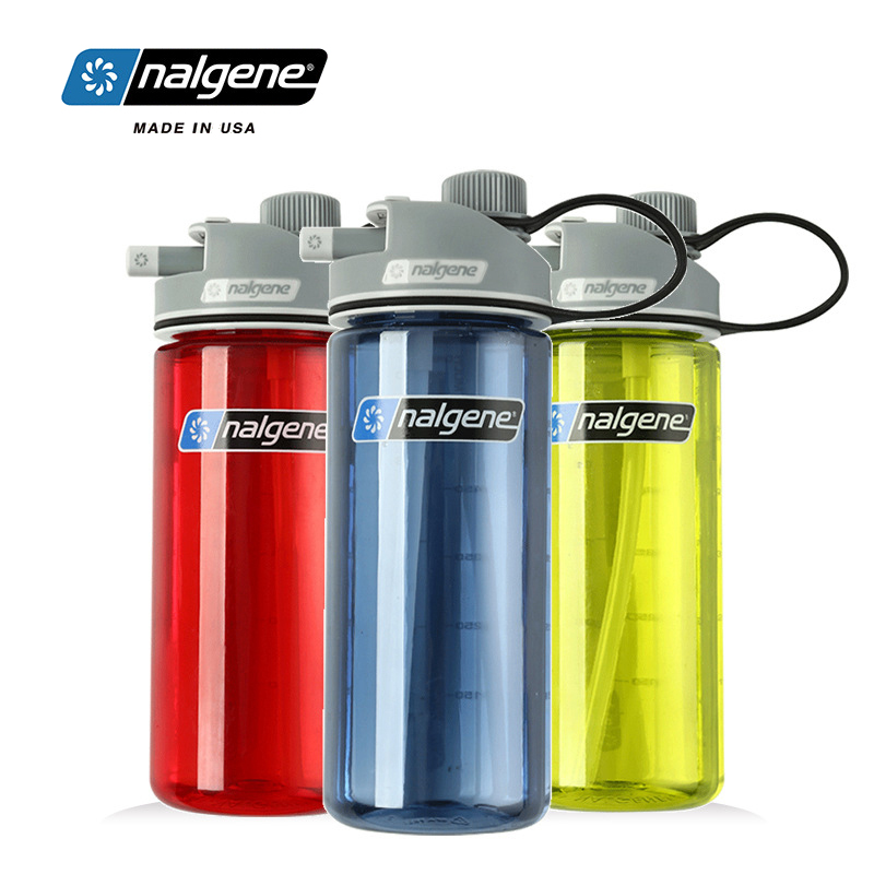 Nalgene Outdoor Sports Water Kettle Multi-function Water Cup Plastic Suction Bottle 590ml Leakproof  Hiking Cycling Travel