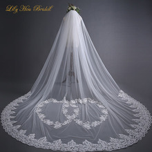 3 Meter Long One Layer Bridal Veils Heart Shaped Lace Appliques Wedding Veil for Brides