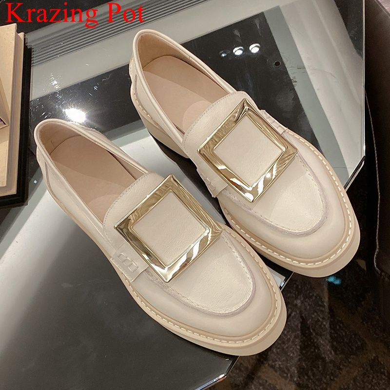 Brand Genuine Leather Med Heels Round Toe Slip On Women Pumps Casual Metal Solid Office Lady Solid Vacation Spring Shoes L03