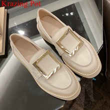 Women Pumps Spring-Shoes Vacation Med-Heels Round Toe Office Genuine-Leather Solid Slip-On