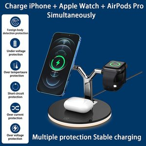 Image 2 - 25W 3 in 1 Magnet Qi Fast Wireless Charger For Iphone 12 Mini Pro MAX Charging Station For Apple Watch 6 5 4 3 2 1 AirPods Pro