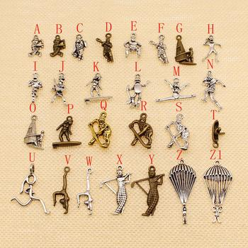 20 Pcs Metal Bronze Silver Color Plated Sportman Charms Pendant For Jewelry Making Metal Charms Metal Charms For Jewelry Making image