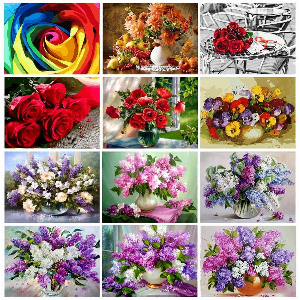 5D DIY Full Round diamond paint Flowers Diamond Embroidery Flowers Cross Stitch Wall Decorations Gift