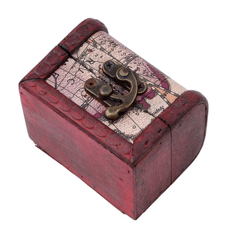 สไตล์วินเทจโลหะล็อคเครื่องประดับ Treasure Chest กล่อง VINTAGE ดอกไม้เครื่องประดับกล่องคู่มือไม้กล่อง
