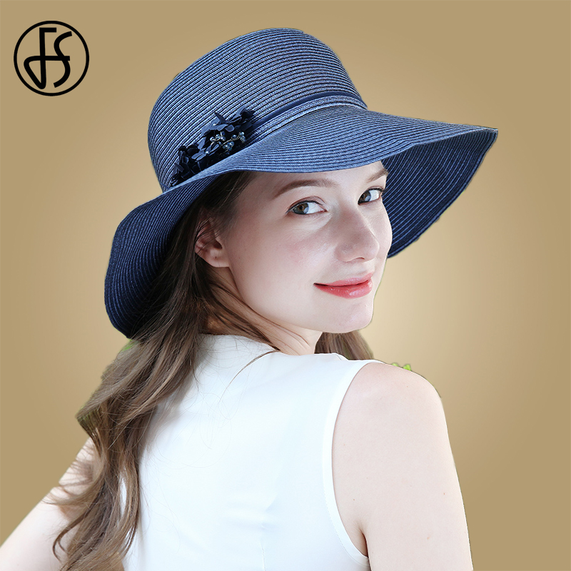 FS Women Summer Beach Sun Hat Spring Flower Blue Wide Brim Cloche Big Hat Fashion