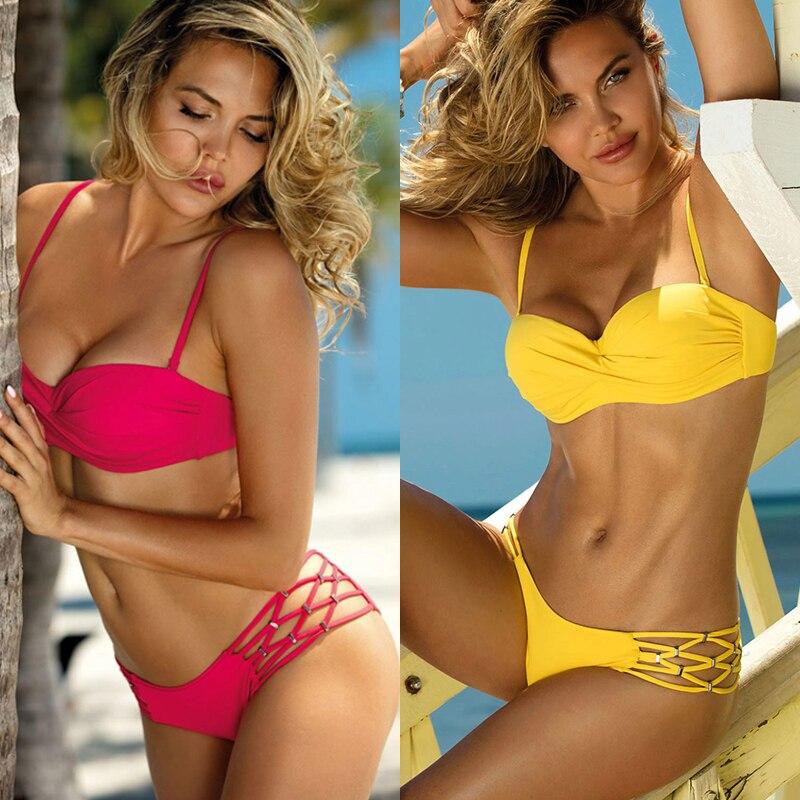 Sexy Bikini Women Swimsuit 2019 Print Bandage Push Up Pineapple Yellow Pink Green Bikini Set Swimwear Female Beach Party Summer
