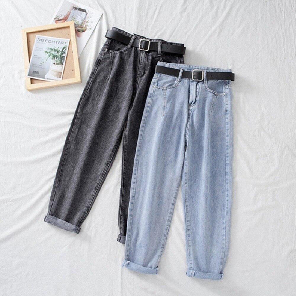 Джинсы с высокой талией, женские штаны-шаровары, широкие штаны, Свободные повседневные корейские джинсы в винтажном стиле; Женские джинсовы...