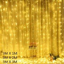 Christmas Decorations 3x1 3x2 3x3m Curtain Fairy String Lights Led USB/EU Plug Christmas