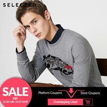 เลือกผู้ชายCotton Blendเสื้อกันหนาวการ์ตูนหมูพิมพ์ถักเสื้อผ้าS