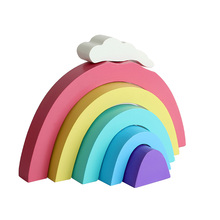 Rainbow Home Decorations Family Handicraft Fashion Building Blocks Wedding Wooden Beautiful Decoration Ornaments Toy