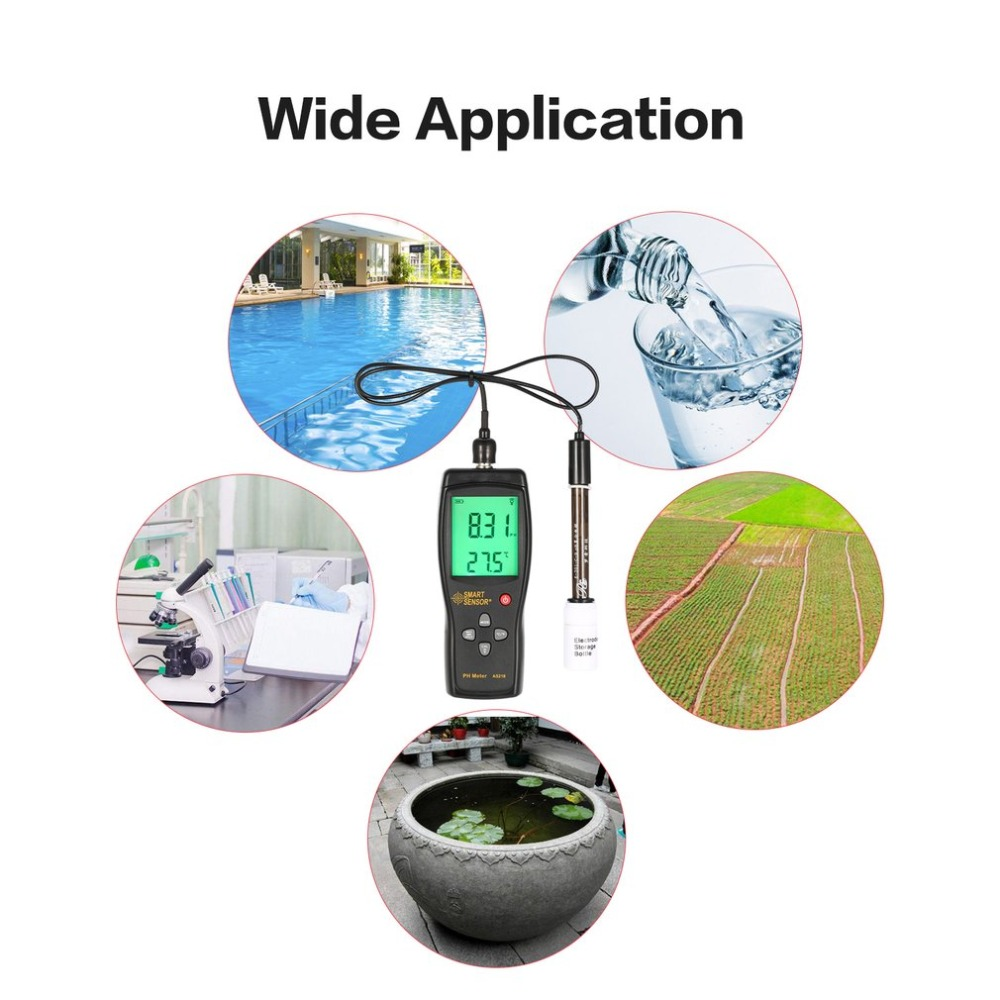 Smart Sensor AS218 Digital PH Meter Gamma 0.00 ~ 14.00pH Suolo PH Tester di Acqua PH Acidità Meter Display A CRISTALLI LIQUIDI Liquido PH Meter - 2