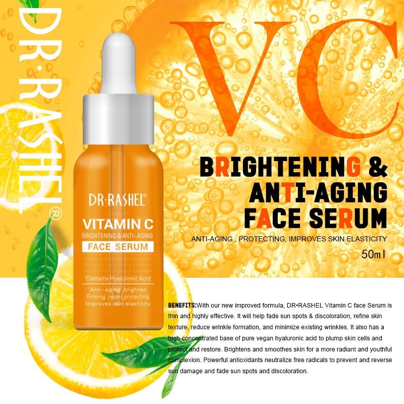 DR.RASHEL Vitamin C Facial Serum Whitening Moisturizing Brightening Skin Hydrating,Anti-aging for All Skin Type 50ml