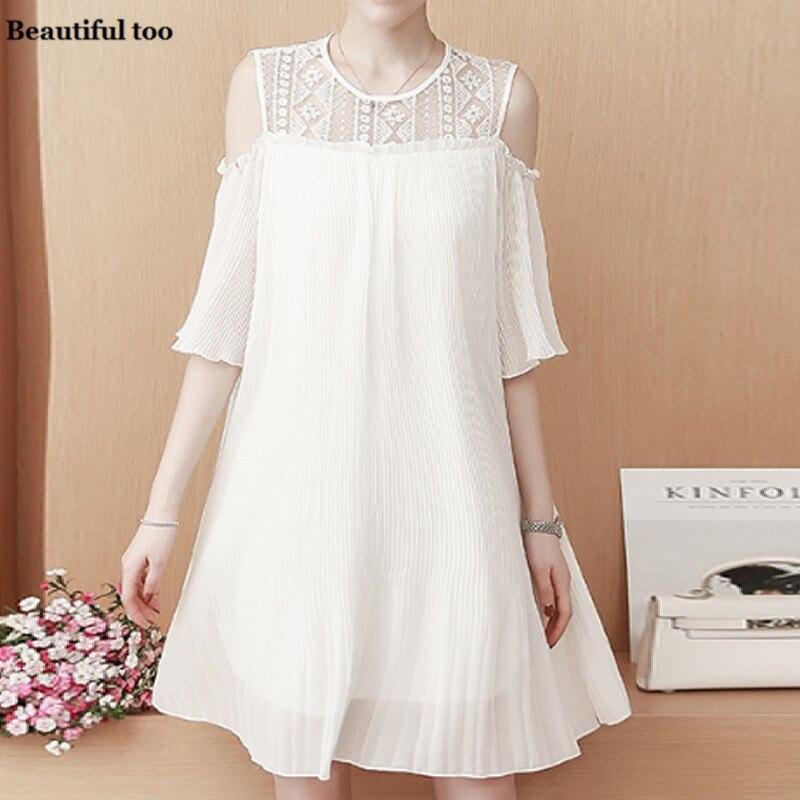 Women Casual Plain Dress Plus Size Short Sleeve Off Shoulder Summer Vintage Elegant Chiffon Dresses Ladies Party Loose Clothes 27