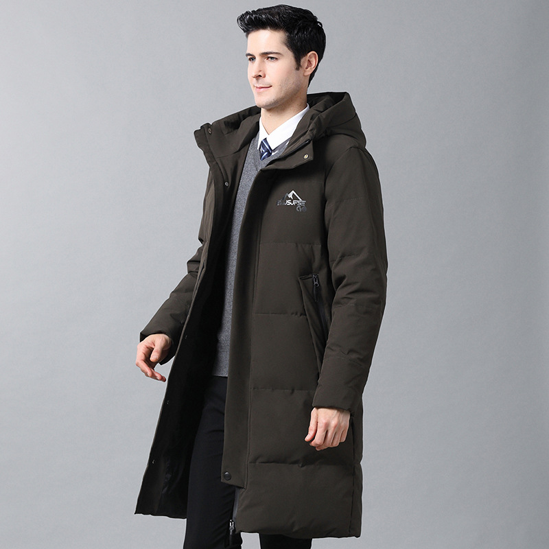 2019 Down Jacket Men's Long Over-the-Knee Thick Korean-style Mid-length Daddy Clothes Super-Long Large Size Down Jacket Overcoat