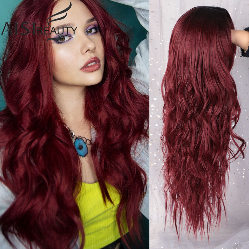 AISI BEAUTY Long Wavy Wig Ombre Platinum Blonde Red Wigs Heat Resistant Part Side Synthetic Wavy Wigs For African American Women