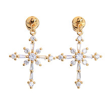 Gold Color Cross Drop Earrings Crystal Christmas Girls Accessory Indian Jewelry Fashion Allergy Free Wholesale(China)