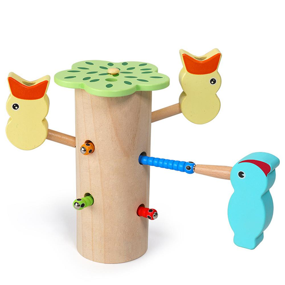 Woodpecker Catch Worms Game Magnetic 3D Puzzle Wooden Toys Kids Early Learning Educational Toy for Children image