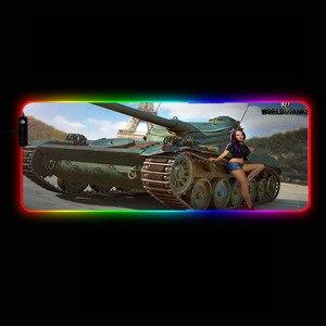 Игровой игровой коврик для мыши World of Tanks RGB, Xxl, компьютерный коврик для мыши, светодиодный большой коврик для мыши, клавиатура, стол, ПК, коври...