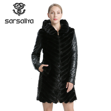 SARSALLYA Natural Mink Coat Jacket Womans Winter Jackets Detachable Leather Real Fur Coat Women Clothing Overcoat Female