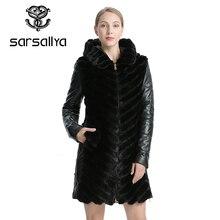 Sarsallyaナチュラルミンクのコートジャケット女性の冬ジャケット取り外し可能な革リアルファーコート女性服オーバー女児