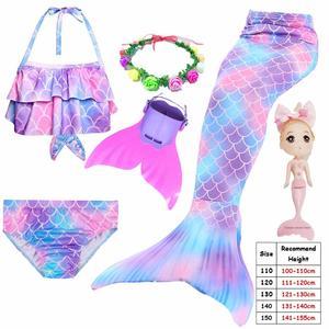 Image 3 - Cinessd 2019 ילדים Swimmable בת ים זנב עבור בנות שחייה חליפת Bating בת ים תלבושות בגד ים יכול להוסיף מונופין סנפיר