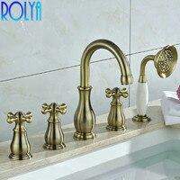 ROLYA 5pcs Bath Shower Mixer Tap With Handshower Luxury Solid Brass Chrome & Bronze&Antique Black Tub Filler