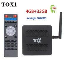 Tox1 android 9.0 caixa de tv amlogic s905x3 4gb ram 32gb rom media player 2.4g 5g wifi bluetooth 1000m 4k conjunto caixa superior
