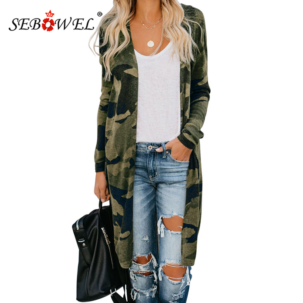 SEBOWEL Autumn Spring Print Long Style Woman Sweaters Cardigan Female Camo/Leopard/Snake Pattern Knit Cardigans Coats S-XXL 2020