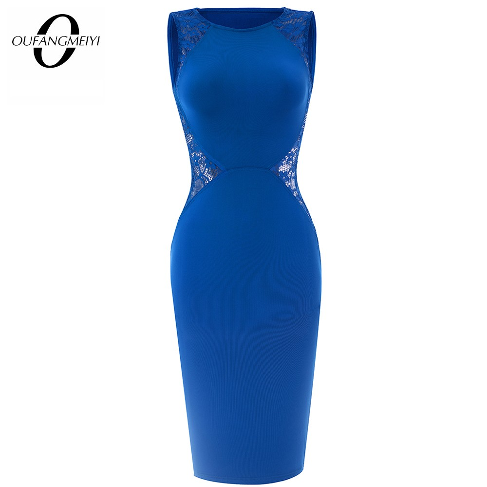 Women Elegant Floral Lace Patchwork Summer Dress Sexy Charming Casual Sleeveless Pencil Dress EB17