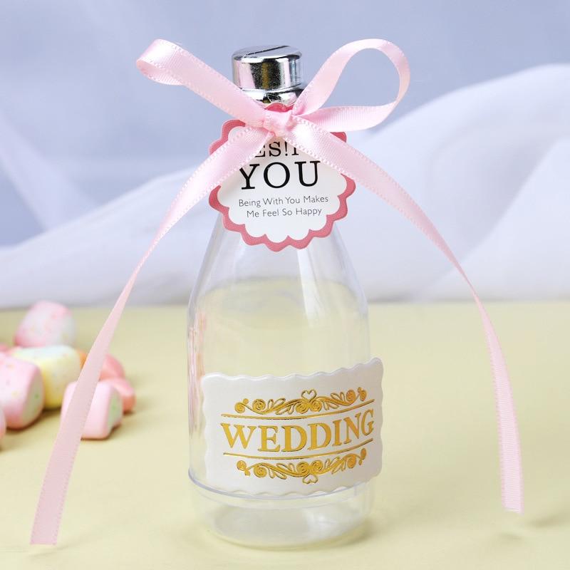 12pcs Fillable Champagne Plastic Bottles Candy Box Wedding Party Favour Decor