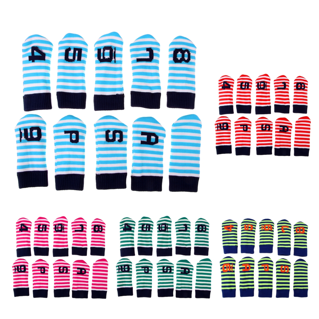 10 Pieces Durable Knitted Velvet Golf Iron Head Covers Set Club Putter Headcover Golf Accessories