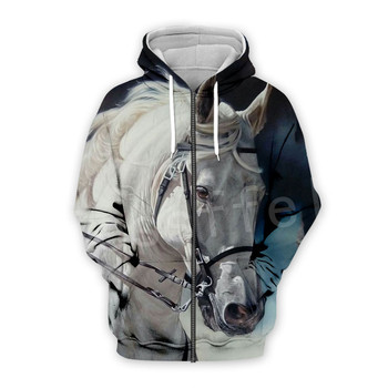 Tessffel Animal Horse art Unisex Colorful Casual Tracksuit Harajuku 3DfullPrint Zipper/Hoodies/Sweatshirt/Jacket/Mens Womens s-7 2