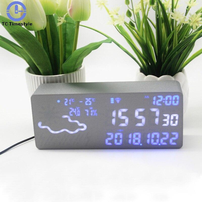 Réveil intelligent numérique électronique prévision météo commande vocale thermomètre hygromètre Wifi connexion Led silencieux Snooze