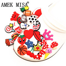 Single Sale 1pc PVC Shoe Charms Animals Ball Cherry Lollipop Starfish Shoe Buckle Decoration for croc jibz Kids Party X-mas Gift cheap AMEK MISA CN(Origin) Shoe Decorations DONG-0327