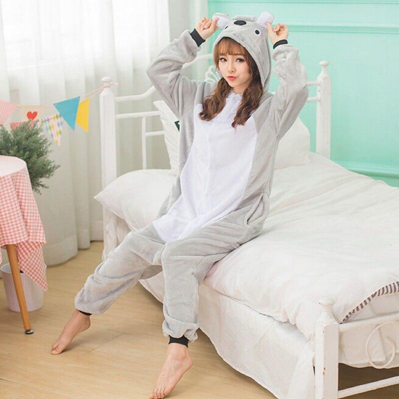 Lovely Koala Pajama Animals Onesie Women Adult Kigurumi Funny Flannel Warm Sleepwear Long Sleeve Girl Party Fancy