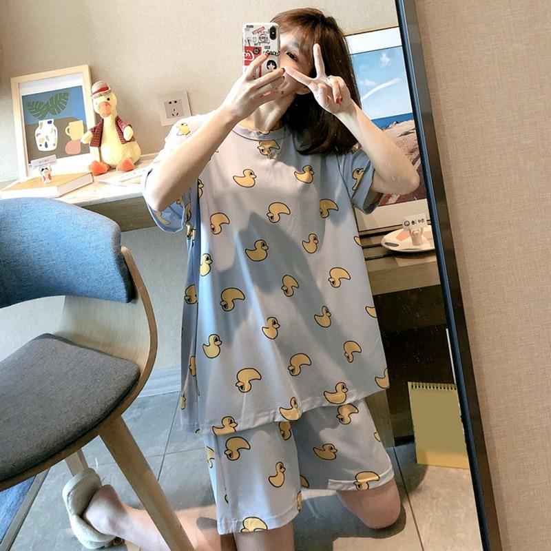 2020 New Pajamas Set Summer Sweet Women's Top Shorts 2 Pcs Sleepwear Suit Korean Style Cute Cartoon Print Ladies Home Wear