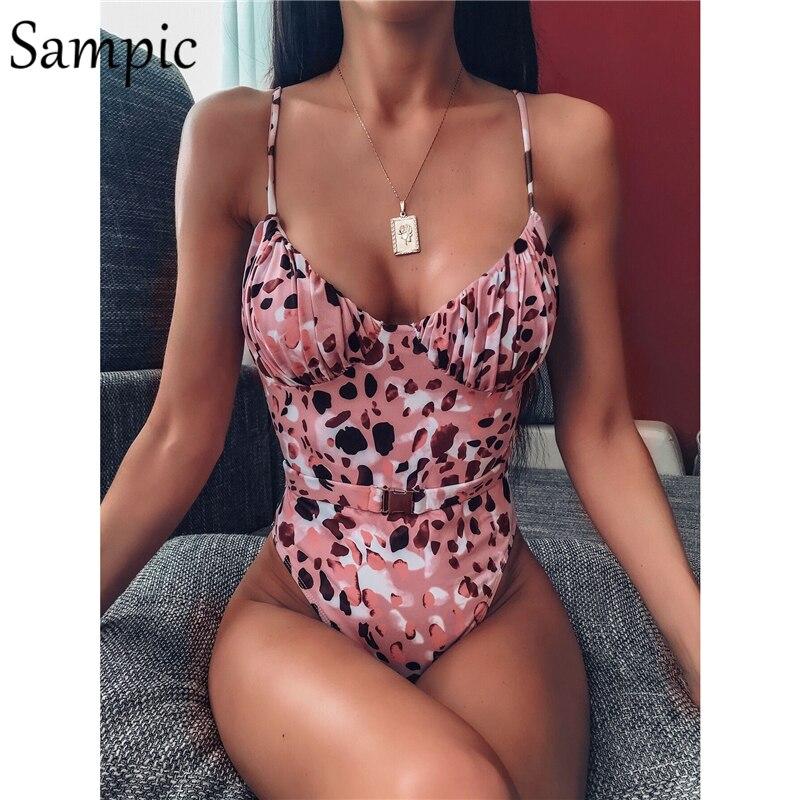 Sampic Sexy Leopard White Black Bikini Swimsuit Women Swimwear Bodysuit Bathing Suits Swim Suit Wear Female Beachwear 2020