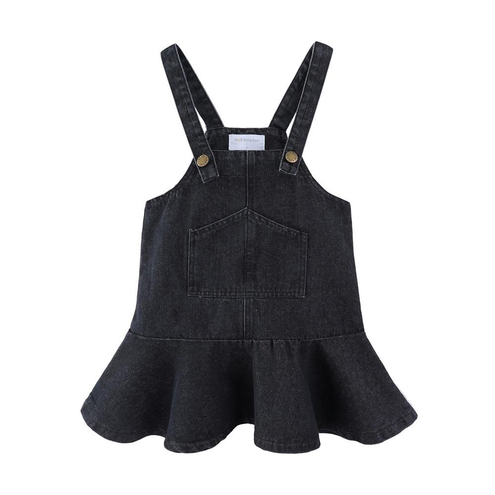 Mudkingdom Toddler Girl Dresses Denim Overalls Girl Skirtall Jumper Plain Pinafore Mini Dress Toddler Girl Spring Clothes 3
