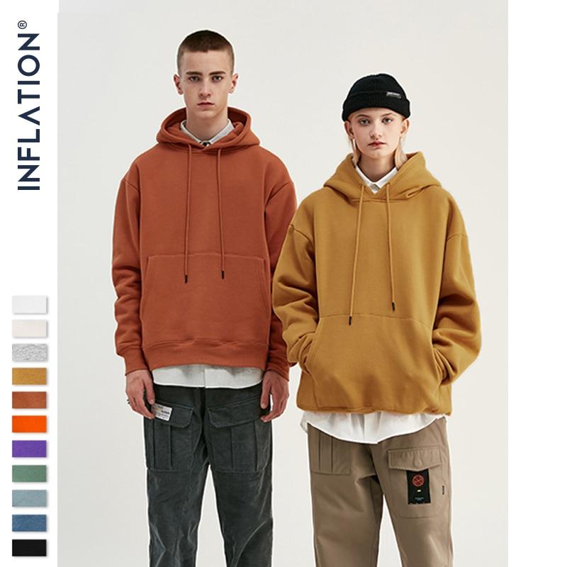 INFLATION 2020 Autumn Mens Thick Fleece Hoodies Hip Hop Pure Hoodies Thick Velvet Fabrics Winter Hoodies For Men Women 167W17 1