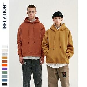 INFLATION 2019 Autumn Mens Thick Fleece Hoodies Hip Hop Pure Hoodies Thick Velvet Fabrics Winter Hoodies For Men Women 167W17(China)