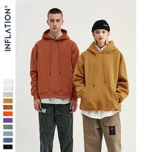 INFLATION 2019 Autumn Mens Thick Fleece Hoodies Hip Hop Pure Hoodies Thick Velvet Fabrics Winter Hoodies For Men Women 167W17