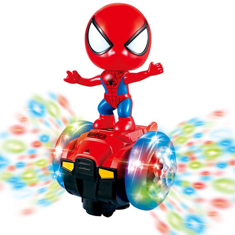 Douyin Spider-Man Captain America CHILDREN'S Toy Electric Balance Car Charging Music Universal Car 1-3 Years Old Boy Toy